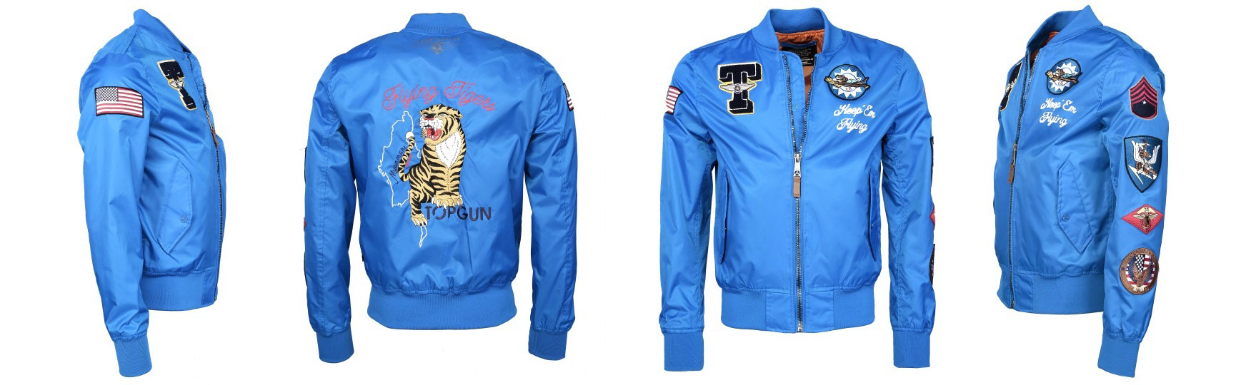 Bomber Jacket Top Gun® LAGUNE in hellblau - Flying Tigers - Keep Em Flying